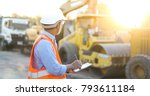asian engineer with hardhat... | Shutterstock . vector #793611184