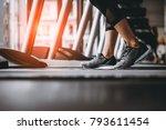 close up on shoe women running...   Shutterstock . vector #793611454