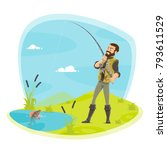 fisherman on fishing with fish... | Shutterstock .eps vector #793611529