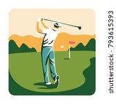man playing golf on a golf... | Shutterstock .eps vector #793615393
