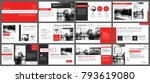 red presentation templates and... | Shutterstock .eps vector #793619080