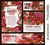 fresh meat and sausages sketch... | Shutterstock .eps vector #793620880