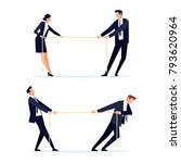 businessmen are pulling rope.... | Shutterstock .eps vector #793620964