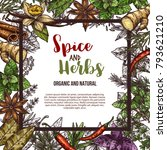 herbs and spices sketch poster... | Shutterstock .eps vector #793621210