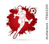 soccer player shooting a ball... | Shutterstock .eps vector #793621243