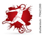 soccer player running and... | Shutterstock .eps vector #793621300