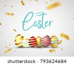 happy easter eggs isolated on...   Shutterstock .eps vector #793624684