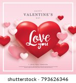 happy valentines day greeting... | Shutterstock .eps vector #793626346