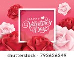 Stock vector happy valentines day greeting card with pink and red roses 793626349