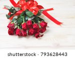 Stock photo red rose with red ribbon on wood background with copy space valenine concept 793628443