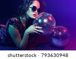 sexy disco party woman.... | Shutterstock . vector #793630948
