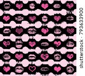 lips and hearts seamless... | Shutterstock .eps vector #793633900