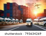 industrial container cargo...   Shutterstock . vector #793634269