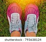 sport running shoes with grass... | Shutterstock . vector #793638124