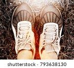 sport running shoes with grass... | Shutterstock . vector #793638130