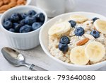 porridge with banana  blueberry ... | Shutterstock . vector #793640080