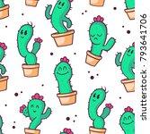 cactus pattern. vector seamless ... | Shutterstock .eps vector #793641706