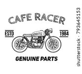 cafe racer vintage motorcycle... | Shutterstock .eps vector #793645153