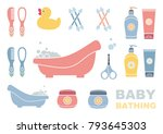 baby bathing and care. set of... | Shutterstock .eps vector #793645303