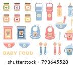 baby feeding   flat icon set.... | Shutterstock .eps vector #793645528