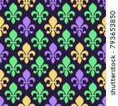 mardi gras seamless pattern. | Shutterstock .eps vector #793653850