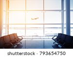 empty airport terminal lounge... | Shutterstock . vector #793654750