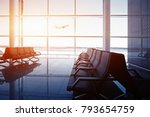 empty airport terminal lounge... | Shutterstock . vector #793654759