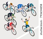 group of man's cyclists in road ... | Shutterstock .eps vector #793654858