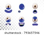 emoji face icons or blue... | Shutterstock .eps vector #793657546