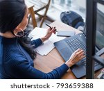 young female student studying... | Shutterstock . vector #793659388