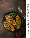 sweet potato stuffed with... | Shutterstock . vector #793659559