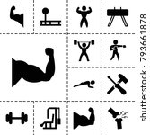 strong icons. set of 13... | Shutterstock .eps vector #793661878