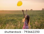 happy girl with balloon at... | Shutterstock . vector #793662250