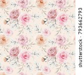 watercolor floral background... | Shutterstock . vector #793662793