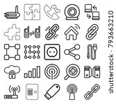 connection icons. set of 25... | Shutterstock .eps vector #793663210