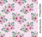 watercolor floral seamless... | Shutterstock . vector #793663384