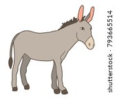gray donkey standing on white... | Shutterstock .eps vector #793665514