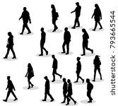Isolated Silhouette Of Walking...