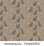 Stock vector vector seamless background with silhouette of cats brown 793665553