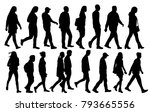 isolated silhouette of walking... | Shutterstock .eps vector #793665556