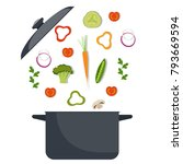 vegetables and pan. broccoli ... | Shutterstock .eps vector #793669594