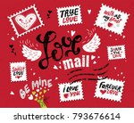 Stock vector set love mail hand drawn lettering the inscription love in the style of a postage stamp stamps 793676614