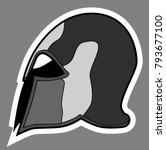 greek helmet grey color sticker | Shutterstock .eps vector #793677100