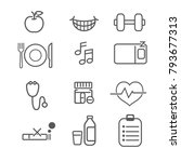 health and wellness icons with... | Shutterstock .eps vector #793677313