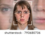 woman face recognition  ... | Shutterstock . vector #793680736
