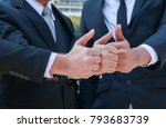 thumbs up agree hands sign good ... | Shutterstock . vector #793683739