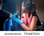 master of the art of tattooing... | Shutterstock . vector #793687024