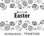easter eggs composition hand... | Shutterstock .eps vector #793687600