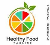 healthy food logo vector | Shutterstock .eps vector #793689676