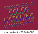 color hatching typeface.... | Shutterstock .eps vector #793694608